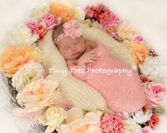 Pink Petal Flower Blossom on a Gorgeous Printed Stretch Elastic Headband, photo prop, newborn headband, photo shoot, by Lil Miss Sweet Pea