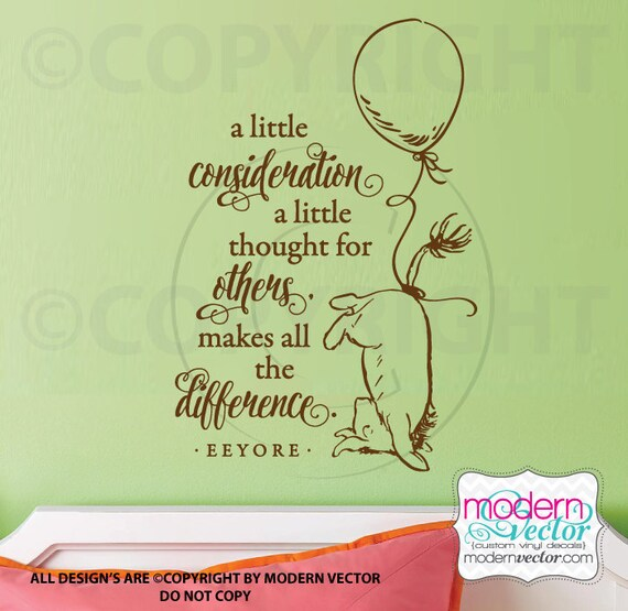 Eeyore Quote Vinyl Wall Decal Classic Winnie the Pooh Style