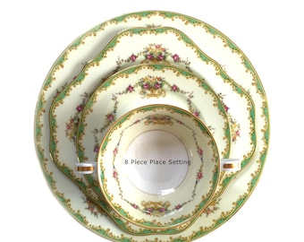 Noritake China Greenbrier Pattern 4024 & 4730 Eight 8 Piece Place Setting - 9 Available - 1930s Bridal Engagement Wedding