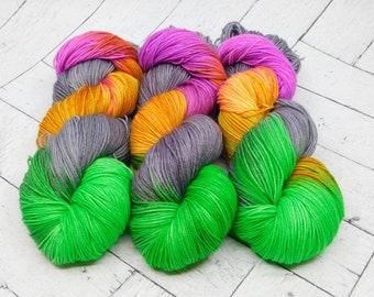 Carnivale- Hand-dyed Superwash Sock Yarn.
