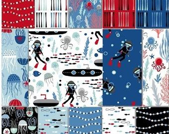 Come Dive with Me by Whistler Studios for Windham - cotton quilting fabric, 14-pc fat quarter bundle