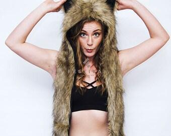 Brown Bear Faux Fur Hood