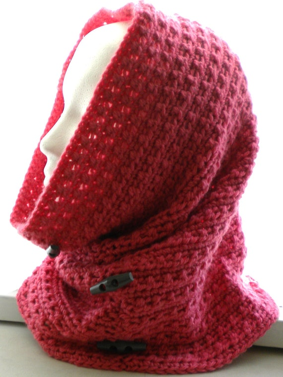 Crochet Cowl Hood Pattern With Decorative Buttons