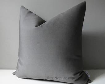 Grey Outdoor Pillow Cover, Modern Pillow Cover, Decorative Gray Outdoor Pillow Cover, Masculine Charcoal Gray Sunbrella Cushion Cover