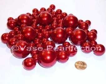 All Red/Cherry Pearls- Jumbo/Assorted Sizes Vase Fillers for Centerpieces