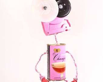 Ubuso, Bot Number: 201791027. Found Object Robot Sculpture. Photo Holder. Vintage, Pink Champale can. Bar. Lee Bots