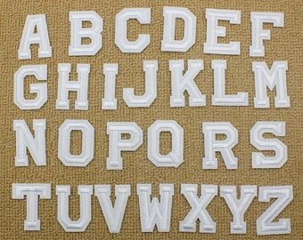White Embroidered iron on Letters Applique Patch,Iron On Name Letters Patch  for T-