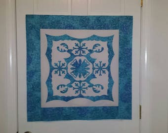 Quilt Top, Wall Hanging Top, Appliqué Design, Wall Hanging Top, Reindeer and Snowflakes Appliqué, Arrives Ready to Quilt, Silver Accents