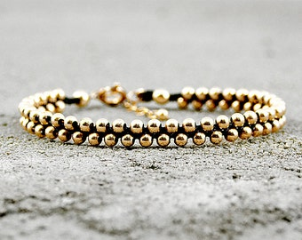 Gold Beaded Bracelet, Gold Boho Bracelets, Stackable Bracelets,trendy gold bracelet,bracelet with charm, black and gold bracelet,unique boho