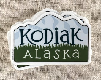 Kodiak Alaska Vinyl Sticker / Barometer Mountain Sticker / Cool Laptop Sticker / Northwest Sticker / Alaska Sticker / Water Bottle Sticker