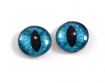 16mm Teal Cat or Dragon Glass Eye Cabochons - Evil Eyes for Doll or Jewelry Making - Set of 2
