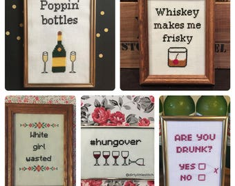 CROSS STITCH PATTERN Bundle – Tipsy Bundle #1 - Pdf Download - Great for beginners! Funny/Dirty Cross Stitch Patterns