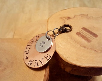 Jeep Wave hand stamped copper and aluminum mixed metals key fob keychain accessory OIIIIIIIO