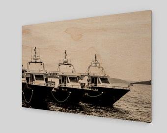 Boats in Santorini Wood Print, 1:50 Limited Edition / black and white / photography / photo / home decor / decoration /. wall art . lux