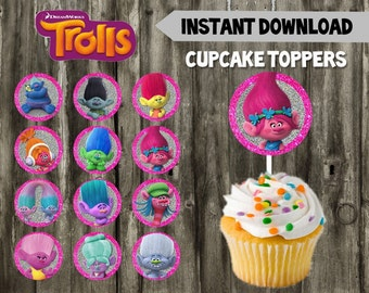 Trolls Cupcake Toppers // Trolls Birthday Party // DIY // Instant Download // Cake Topper // Trolls Favor // Glitter // Printable