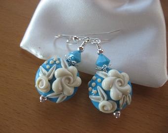 SALE, Cameo Earrings, Lampwork Earrings, Flower Earrings, Roses, Handmade Lampwork Beads, Turquoise Ivory, Easter Earrings, Spring Earrings
