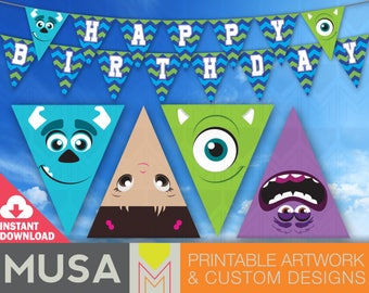 INSTANT DOWNLOAD / Monsters / Pennant Party Banner