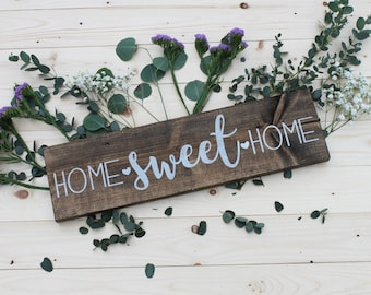 Home Sweet Home, wood sign, kitchen decor, 5.5 x 20'', housewarming gift, mother's day gift, gifts for her, wedding gift, housewarming