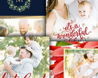 Christmas Photo Card Template Bundle - Photoshop Template for Pro Photographers - Four (4) Cards - 1676