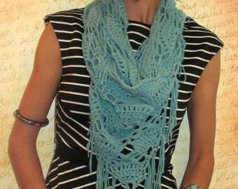 CROCHET COWL - Crochet Triangle Cowl - Fringed Infinity Scarf - Custom