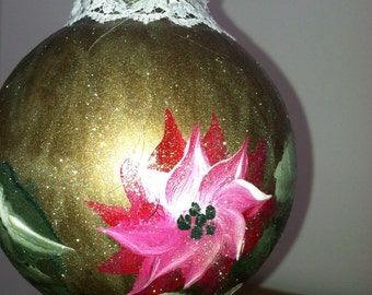 ON SALE 10 % OFF Ornament with Pointsetta hand painted