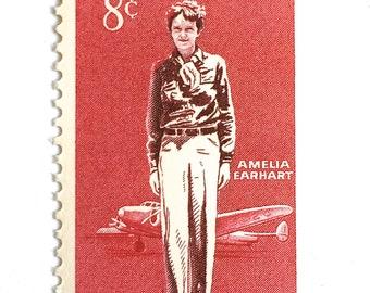 10 Vintage Amelia Earhart Postage Stamps // 8 Cent Vintage Red Aviatrix Pilot Stamps for Mailing