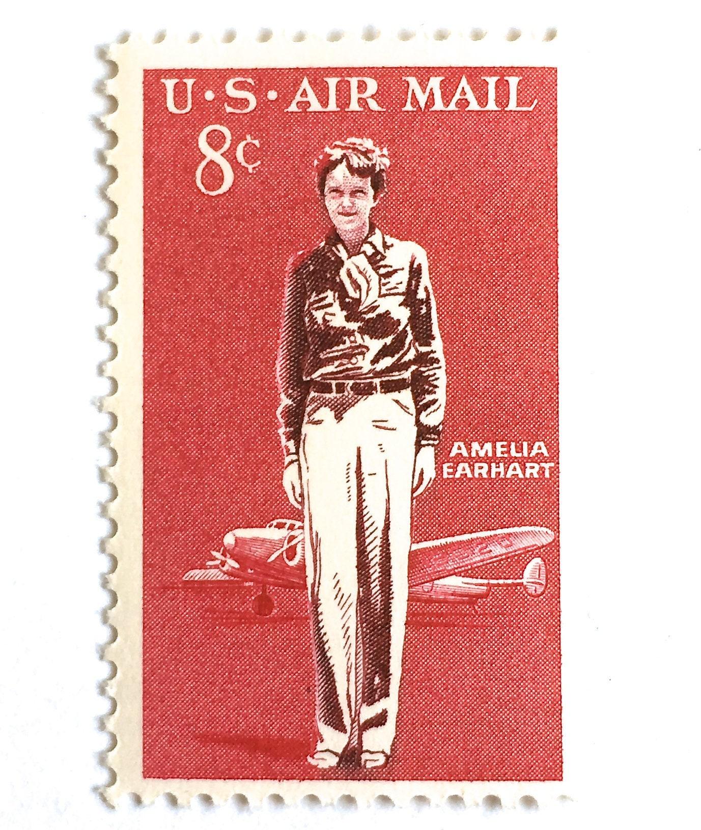 10 Vintage Amelia Earhart Postage Stamps // 8 Cent Vintage Red