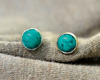 Turquoise Earrings, Silver Stud Earrings with Turquiose, Post Earrings, Bridesmaids Gifts