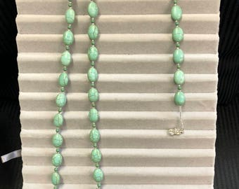 Magnesite Necklace and Bracelet with Glass Seed Beads