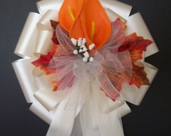 12 IVORY/ with Orange Calla Lily Lilies Fall Autumn Pew Bows - Wedding Decorations