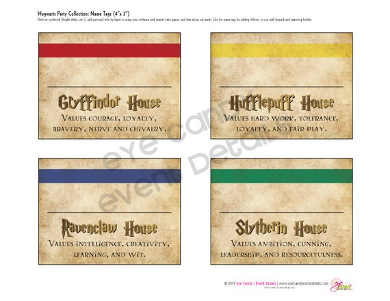 Harry Potter Book Names : Harry potter inspired hogwarts printable name tags