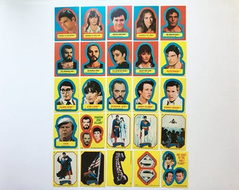 Vintage 70's & 80's SUPERMAN Trading Card Stickers ~ DC Comics Christopher Reeve Margot Kidder