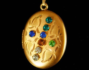 Edwardian locket GORGEOUS 12 kt gold filled Victorian Cross necklace colored Paste estate jewelry heirloom keepsake