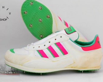 NOS Adidas Hochsprung High Jump shoes / Vintage Track Field Spikes / Deadstock Sport shoes / Made in West Germany 1980s