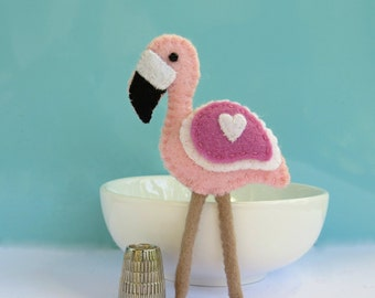 Pink Flamingo Bird - Wool Felt Magnet or Brooch