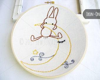 IRON-ON transfer  Goodnight Bunny Moon and Star Design