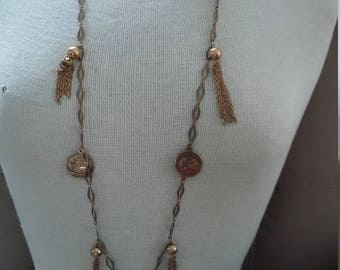 Vintage LONG Necklace with Coin Drops and Tassels