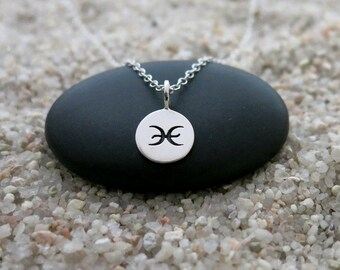 Pisces Necklace, Sterling Silver Pisces Charm, Zodiac Jewelry