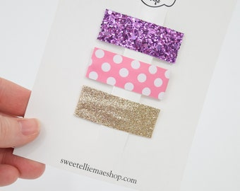 Lollipop, Pink Polka Dot, Pale Gold Glitz | Faux Leather and Glitter Snap Clips