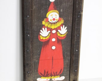 Vintage Langelier Studio Hand Painted Clown Plaque with Two Hanging Pegs