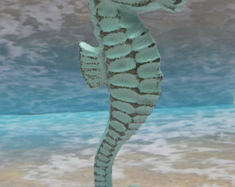 Seahorse Cast Iron Statue Figurine Stand Nautical Sea Horse Light Cottage Chic Beachy Blue Shabby Elegance Distressed Beach Weathered