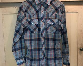 Mens Levi Shirt - Western Shirt - Big E Levis - Wildfire Shirt - Mens Size Medium Vintage Shirt - Blue Plaid Shirt - Long Sleeve Button Up