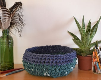 Recycled Cotton Crochet Basket - teal and ocean blue (Large)