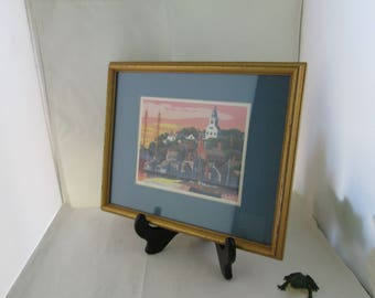Vintage Small City Harbor Scene Print in Wood Frame Saturated Colors Print Harbor picture Small Framed print Framed picture Small Picture