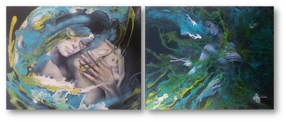Art Print - Envied love, wall art, wall decor, painting, abstract, blue, woman, love, couple, life, relationship, NY, us,Daniela Cojocarita