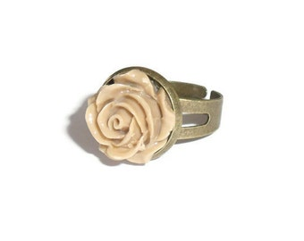 Bridesmaid Jewelry, Right Hand Rings, Mocha Rose Flower on Antiqued Bronze, Gift for Her, Bridesmaid Rings, Gift Under 10, Adjustable Ring