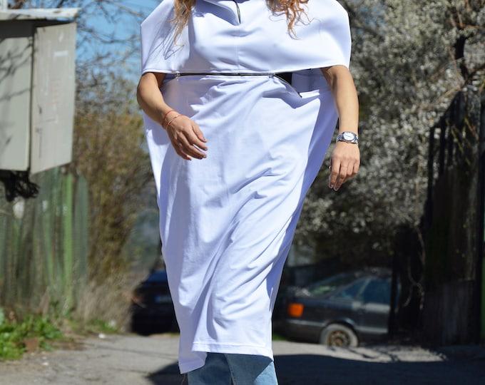 White Extravagant Neoprene Cotton Long Tunic, Asymmetrical Handmade Top with Zipper, Sleeveless Plus Size Dress by SSDfashion