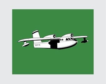 Airplane Art Print, 8x10 PRINTABLE, Seaplane, Instant Download, Digital