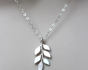 Moonstone necklace sterling silver moonstone pendant blue silver leaf necklace leaf pendant on sterling silver chain leaf jewelry nature inspired mozeypictures Image collections