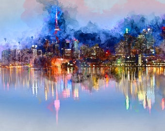 Toronto watercolor from digital photo. Image for print.